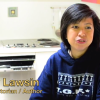 Screenshot of Emily Lawsin with text Poet/Historian/Author