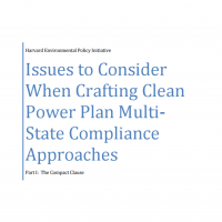"Screenshot of Harvard Law School PDF with text ""Issues to Consider When Drafting Clean Power Plan Multi-State Compliance Approaches"""