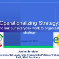 "Screenshot of Jenine Serviolo presentation with text ""Operationalizing Strategy: How to link everyday work to organizational strategy"""