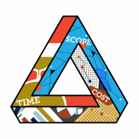 "Multi-color triangle with wording ""Scope"" at the top, ""Cost"" lower right, ""Time"" lower left"