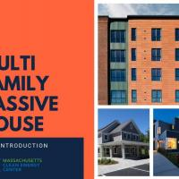 Three images of homes with orange background and text 'multi family passive house an introduction massachusetts clean energy center'