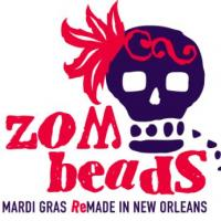 Purple skull with red text 'zombeads' for mardi gras